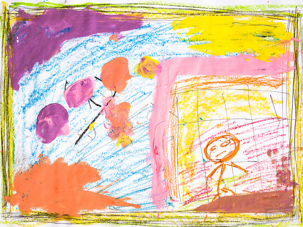"""A drawing of """"bad things"""" by a Syrian refugee child in the Free Syria School. The class was taught by David Gross. The exercise involved quick drawings, of 2 minutes each, in three parts.<br /> The first step was a pencil drawing. The student drew a symbolic border, then added elements that were """"bad things."""" Next, the bad things were colored, to give them """"life."""" David led the students through a fast, yogic stretching movement to add the physical experience of openness. Finally, the student painted over the bad with """"good things,"""" in bright colors, giving the experience of replacing the bad with the good. The students told him that they loved the experience, especially the stretching exercise!"""