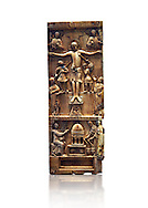 Medieval ivory plaque depicting the Crucifixion and the saints at the tomb, end of 11th cent from Salerne or Amalfi. AD. Inv OA 4085, The Louvre Museum, Paris. .<br /> <br /> If you prefer you can also buy from our ALAMY PHOTO LIBRARY  Collection visit : https://www.alamy.com/portfolio/paul-williams-funkystock/romanesque-art-antiquities.html . Type-     Fasillar      - into the LOWER SEARCH WITHIN GALLERY box. Refine search by adding background colour, place, museum etc<br /> <br />  Visit our MEDIEVAL PHOTO COLLECTIONS for more   photos  to download or buy as prints https://funkystock.photoshelter.com/gallery-collection/Medieval-Romanesque-Art-Antiquities-Historic-Sites-Pictures-Images-of/C0000uYGQT94tY_Y