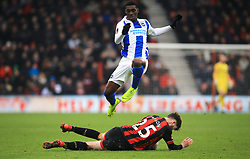 Brighton & Hove Albion's Yves Bissouma jumps over Bournemouth's Jack Simpson during the Emirates FA Cup, third round match at the Vitality Stadium, Bournemouth.