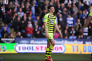Yeovil Town's Kieffer Moore walks off after being given a red card during the Skybet championship match, Reading v Yeovil Town at the Madejski Stadium in Reading, Berkshire on Saturday 1st March 2014.<br /> pic by Jeff Thomas, Andrew Orchard sports photography.<br /> contact and payments to Andrew Orchard, 2 Old Vicarage close, Pengam, Blackwood, Gwent. NP12 3TU. Tel 07974 069129.  vat reg no 615 9784 04,  <br /> no unpaid use, All usage chargeable.