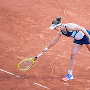 PARIS, FRANCE June 10.  Barbora Krejcikova of the Czech Republic points to the mark on the clay showing the ball was out on match point during her match against Maria Sakkari of Greece on Court Philippe-Chatrier during the semi finals of the singles competition at the 2021 French Open Tennis Tournament at Roland Garros on June 10th 2021 in Paris, France. (Photo by Tim Clayton/Corbis via Getty Images)