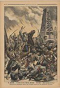 Clash between Russian troops and murderous, rebelling Tartars in the oilfields at Baku, Caucasus. From 'Le Petit Journal, 24 September 1905.