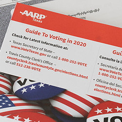 An American Association of Retired Persons (AARP) mailing encouraging its members to get involved in the voting process in Texas. The piece is printed with English and Spanish instructions on where to get more information.