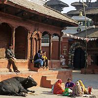 Asia, Nepal, Bhaktapur. Scene from Durbar Square, Bhaktapur, a UNESCO World Heritage Site.