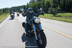 Pat Thurston on the Harley-Davidson Angels Ride to benefit the Nature Conservancy during the annual Sturgis Black Hills Motorcycle Rally.  SD, USA.  August 12, 2016.  Photography ©2016 Michael Lichter.