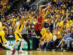 Feb 24, 2018; Morgantown, WV, USA; Iowa State Cyclones guard Lindell Wigginton (5) saves a ball from going out of bounds during the first half against the West Virginia Mountaineers at WVU Coliseum. Mandatory Credit: Ben Queen-USA TODAY Sports
