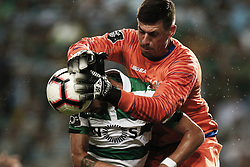 September 1, 2018 - Lisbon, Portugal - Caio Secco of Feirense  (R) vies for the ball with Bruno Fernandes of Sporting (L)  during Primeira Liga 2018/19 match between Sporting CP vs CD Feirense, in Lisbon, on September 1, 2018. (Credit Image: © Carlos Palma/NurPhoto/ZUMA Press)