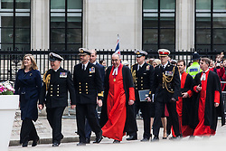 London, UK. 3 May, 2019. The Duke of Cambridge and newly appointed Defence Secretary Penny Mordaunt arrive at a reception at the Queen Elizabeth II Centre following a National Service of Thanksgiving at Westminster Abbey to mark fifty years of the Continuous at Sea Deterrent (CASD). Campaigners from Campaign For Nuclear Disarmament (CND), Stop the War Coalition, the Peace Pledge Union, the Quakers and other faith groups protested outside against the holding of the service throughout its duration.