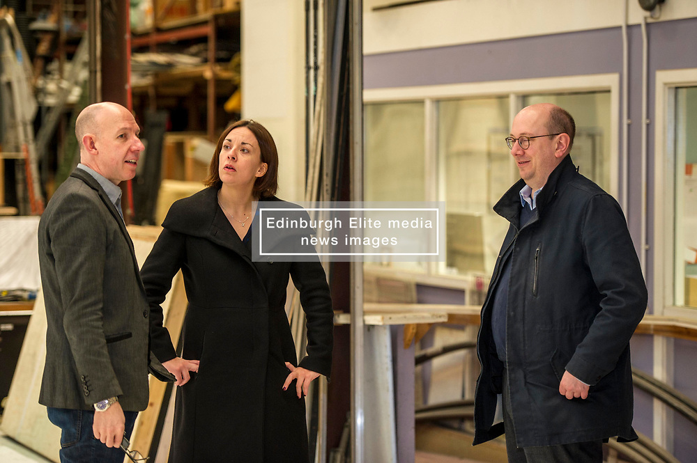 Pictured: Alex McGowan, Executive Director of the Lyecum,  Kezia Dugdale and Ben Jefferies, Director of Communications and Customer Services<br /> Scottish Labour leader Kezia Dugdale, MSP,  and Tom Watson, MP deputy leader of the Labour Party, visited Edinburgh's Royal Lyceum Theatre today.<br /> <br /> Ger Harley | EEm 27 March 2017