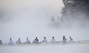 Aiguebelette, FRANCE,  GBR W8+, Sunday Morning training, Misty and Low cloud conditions, at Lake Aiguebelette, Venue for the  2015 FISA World Rowing Championships,  Savoie. <br /> <br /> Sunday  06/09/2015  [Mandatory Credit. Peter SPURRIER/Intersport Images]. © Peter SPURRIER, Atmospheric, Rowing