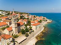 Aerial view of Sutivan coastal line during the summer, Croatia.