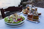 Traditional Greek Salad at Restaurant Thalassino Ageri in Chania, Crete, Greece, Europe