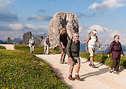 """Hike scenic and historic trails around Cinque Torri in the Dolomiti Ampezzane mountains near Cortina d'Ampezzo, Italy, Europe. Explore restored artillery bunkers and trenches from World War I conflicts between Italian and Austro-Hungarian troops. The """"Five Towers"""" (Cinque Torri or Fünf Türme) rise to 2361 meters elevation on Averau mountain in the Nuvolao group of the Dolomites. The Dolomites were declared a natural World Heritage Site (2009) by UNESCO. For licensing options, please inquire."""