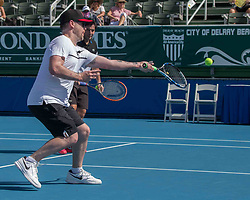 November 5, 2017 - Delray Beach, Florida, US - Musician David Cook of American Idol fame on court at the Delray Beach Stadium and Tennis Center in Florida during the 2017 Chris Evert/ Raymond James Pro-Celebrity Tennis Classic. Chris Evert Charities has raised more than $23 million in an ongoing campaign for Florida's most at-risk children. (Credit Image: © Arnold Drapkin via ZUMA Wire)