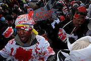 Protesters painted their faces and decorated themselve in the colours of the Sri Lankan flag and wore clothing daubed in red paint