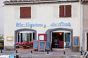 La Taverne du Port with many chalkboards with menus. Marseillan. Languedoc. France. Europe.