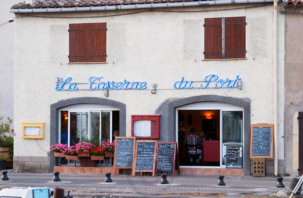 La Taverne du Port with many chalkboards with menus. Marseillan. Languedoc. France. Europe.