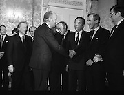 New Fianna Fáil Administration Sworn In.  (R52)..1987..10.03.1987..03.10.1987..10th March 1987..After their win in the recent general election the new Fianna Fáil government,under the leadershio of Charles Haughey, was sworn in and given their seals of offce at a ceremony in Áras an Uachtaráin today. The government received their seals from President Patrick Hillery...President Hillery is seen congratulating the new cabinet on their appointments in government