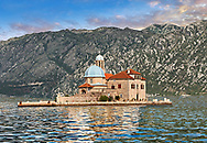 scenic view of the Our Lady of the Rocks Island Church (Gospa od Skrpjela), Kotor Bay, Montenegro .<br /> <br /> Visit our MONTENEGRO HISTORIC PLAXES PHOTO COLLECTIONS for more   photos  to download or buy as prints https://funkystock.photoshelter.com/gallery-collection/Pictures-Images-of-Montenegro-Photos-of-Montenegros-Historic-Landmark-Sites/C0000AG8SdQ.sYLU