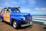 Classic Woody Car On The San Clemente Pier