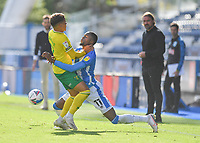 Huddersfield Town's Adama Diakhaby battles with Norwich City's Max Aarons<br /> <br /> Photographer Dave Howarth/CameraSport<br /> <br /> The EFL Sky Bet Championship - Huddersfield Town v Norwich - Saturday September 12th 2020 - The John Smith's Stadium - Huddersfield<br /> <br /> World Copyright © 2020 CameraSport. All rights reserved. 43 Linden Ave. Countesthorpe. Leicester. England. LE8 5PG - Tel: +44 (0) 116 277 4147 - admin@camerasport.com - www.camerasport.com