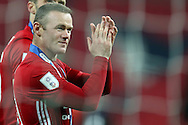 Wayne Rooney of Manchester Utd applauds the fans at the end of the game. EFL Cup Final 2017, Manchester Utd v Southampton at Wembley Stadium in London on Sunday 26th February 2017. pic by Andrew Orchard, Andrew Orchard sports photography.