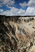 Views of Yellowstone Canyon, near Tower Junction - they are huge basalt columns on both sides of the river, from old volcanic activity. There are fumaroles all over the hills and various rock erosion formations of incredible colours