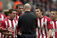Picture: Henry Browne, Digitalsport<br /> NORWAY ONLY<br /> <br /> Date: 08/05/2004.<br /> Southampton v Aston Villa FA Barclaycard Premiership.<br /> <br /> Saints players can't believe the ref has awarded a penalty in the first half to Villa.