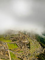 The Eastern Side of Machu Picchu Engulfed in Cloud in the Peruvian Andes