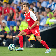 BARCELONA, SPAIN - August 18:  Oliver Torres #21 of Sevilla in action during the Espanyol V  Sevilla FC, La Liga regular season match at RCDE Stadium on August 18th 2019 in Barcelona, Spain. (Photo by Tim Clayton/Corbis via Getty Images)