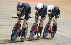 Team KGF (left-right) Dan Bigham, Jacob Tipper and Charlie Tanfield, set the fastest time in qualifying for the Men's Team Pursuit, during day three of the HSBC UK National Track Championships at The National Cycling Centre, Manchester.