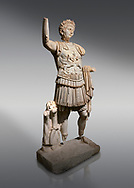 Roman statue of Emperor Trajan. Marble. Perge. 2nd century AD. Inv no . Antalya Archaeology Museum; Turkey.<br /> <br /> Trajan Roma Emperor  from 98 to 117 AD. .<br /> <br /> If you prefer to buy from our ALAMY STOCK LIBRARY page at https://www.alamy.com/portfolio/paul-williams-funkystock/greco-roman-sculptures.html . Type -    Antalya     - into LOWER SEARCH WITHIN GALLERY box - Refine search by adding a subject, place, background colour, museum etc.<br /> <br /> Visit our ROMAN WORLD PHOTO COLLECTIONS for more photos to download or buy as wall art prints https://funkystock.photoshelter.com/gallery-collection/The-Romans-Art-Artefacts-Antiquities-Historic-Sites-Pictures-Images/C0000r2uLJJo9_s0