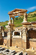 The Fountain of Emperor Trajan on Curetes Street constructed between 102 - 114 A.D. Ephesus Archaeological Site, Anatolia, Turkey. .<br /> <br /> If you prefer to buy from our ALAMY PHOTO LIBRARY  Collection visit : https://www.alamy.com/portfolio/paul-williams-funkystock/ephesus-celsus-library-turkey.html<br /> <br /> Visit our TURKEY PHOTO COLLECTIONS for more photos to download or buy as wall art prints https://funkystock.photoshelter.com/gallery-collection/3f-Pictures-of-Turkey-Turkey-Photos-Images-Fotos/C0000U.hJWkZxAbg