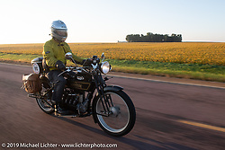 Brian Pease riding his 1916 Henderson on the Motorcycle Cannonball coast to coast vintage run. Stage 8 (314 miles) from Spirit Lake, IA to Pierre, SD. Saturday September 15, 2018. Photography ©2018 Michael Lichter.