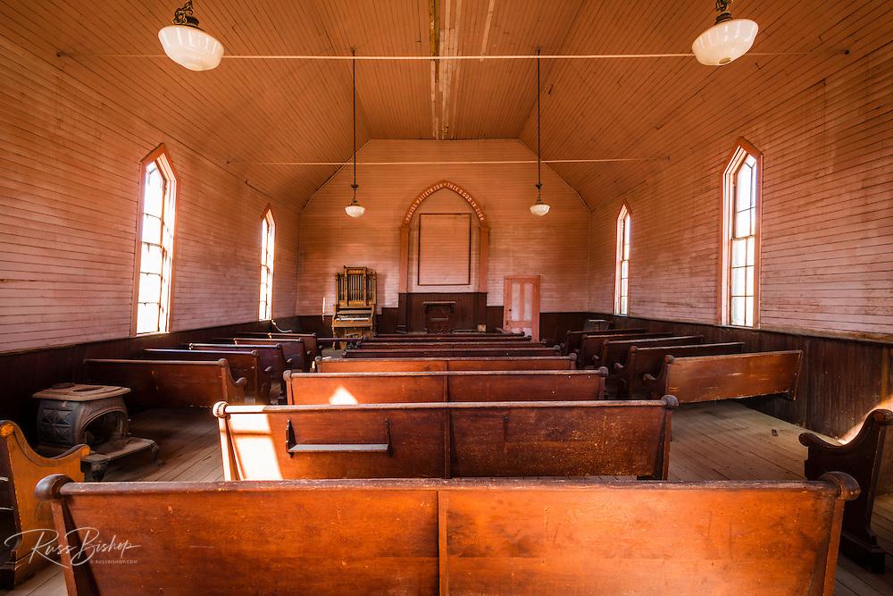 Interior of the Methodist Church, Bodie State Historic Park, California USA