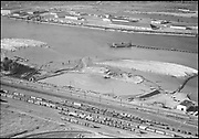 """Ackroyd 06242-1. """"Commission Public Docks. Aerials of dredging near Shaver Transportation. August 3, 1955"""" (Shaver became the Waterways terminal. 5x7"""")"""