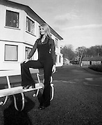 """Former Miss World Visits Dublin Zoo.<br /> 1973.<br /> 14.01.1973.<br /> 01.14.1973.<br /> 14th January 1973.<br /> Miss Eva Rueber-Staier, former Miss World from Austria and the """"World Wildlife Fund's Anniversary Girl"""", paid her first visit to Ireland to open the Shell/BP Irish Wildlife Promotion. As part of the promotion Eva paid a visit to Dublin Zoo in the Phoenix Park, Dublin.<br /> <br /> Image shows Miss Rueber-Staier posing for photographers in Dublin Zoo."""