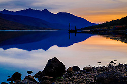 Sunset in autumn at Loch Etive in Glen Etive, Highlands of Scotland<br /> <br /> (c) Andrew Wilson   Edinburgh Elite media