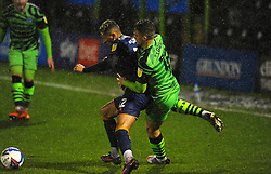 Kellan Gordon of Mansfield Town holds off Jake Young of Forest Green Rovers- Mandatory by-line: Nizaam Jones/JMP - 14/11/2020 - FOOTBALL - innocent New Lawn Stadium - Nailsworth, England - Forest Green Rovers v Mansfield Town - Sky Bet League Two