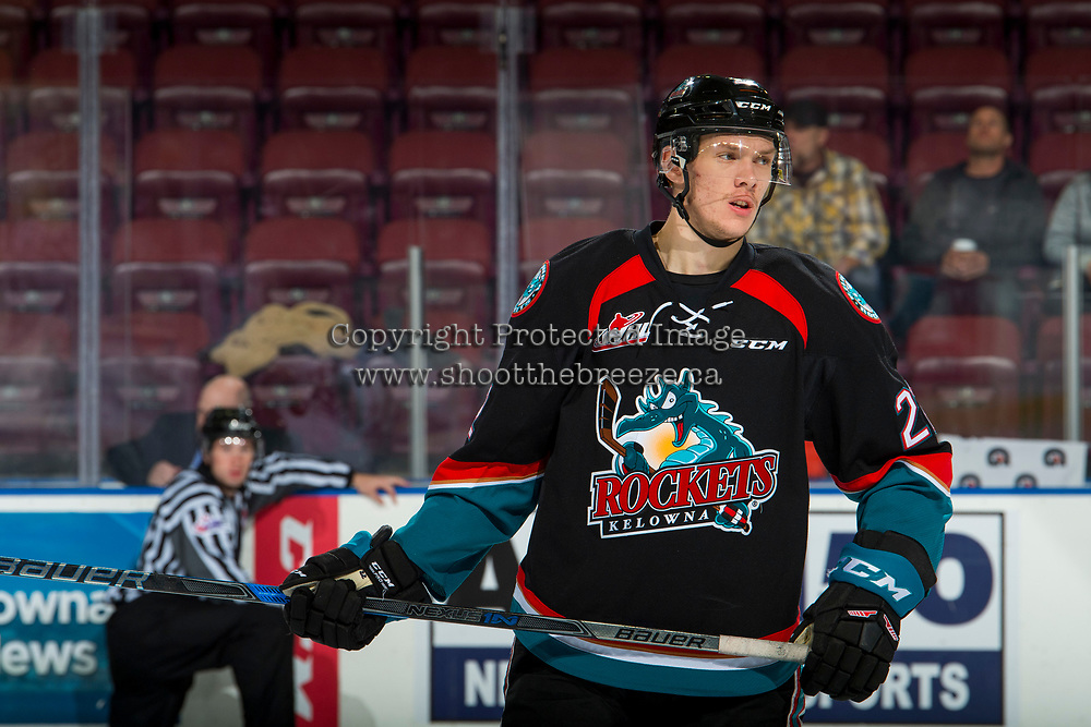 KELOWNA, CANADA - OCTOBER 13: Braydyn Chizen #22 of the Kelowna Rockets warms up against the Tri-City Americans  on October 13, 2018 at Prospera Place in Kelowna, British Columbia, Canada.  (Photo by Marissa Baecker/Shoot the Breeze)  *** Local Caption ***