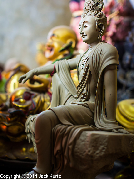 27 DECEMBER 2014 - PHUKET TOWN, PHUKET, THAILAND: Statues of deities at Pud Jor Shrine, a large Chinese shrine in Phuket town. Phuket has a large Chinese minority that is active in business and civic life.    PHOTO BY JACK KURTZ