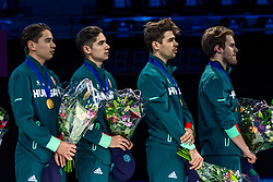13-01-2019 NED: ISU European Short Track Championships 2019 day 3, Dordrecht<br />  Team Hungary react in the Men's Relay medal ceremony during the ISU European Short Track Speed Skating Championships