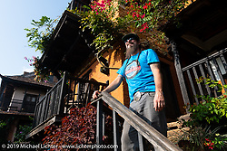 Led Sled's Pat Patterson at the farm to table Famous Farmhouse in Nuwakot on Motorcycle Sherpa's Ride to the Heavens motorcycle adventure in the Himalayas of Nepal. This first day of riding took us from Kathmandu to Nuwakot. Monday, November 4, 2019. Photography ©2019 Michael Lichter.