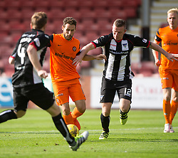 Dundee United's Tony Andrue scoring their second goal. Dunfermline 1 v 3 Dundee United, Scottish Championship game played 10/9/2016 at East End Park.