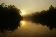 Foggy sunrise on Rio Blanco, Amazonia, Peru.