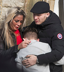 "© Licensed to London News Pictures. 13/02/2020. Sevenoaks, UK. Emotional mourners watch the coffins arrive at St John the Baptist church in Sevenoaks, Kent for he funeral of traveller brothers Billy and Joe Smith. The twin brothers, who were made famous by the television programme ""My Big Fat Gypsy Wedding"", were found hanged in woodland three days after Christmas. Photo credit: Ben Cawthra/LNP"