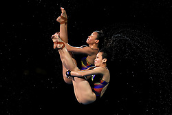 Malaysia's Jun Hoong Cheong and Pandlela Rinong Pamg compete in the Women's Synchronised 10m Platform Final at the Optus Aquatic Centre during day seven of the 2018 Commonwealth Games in the Gold Coast, Australia.