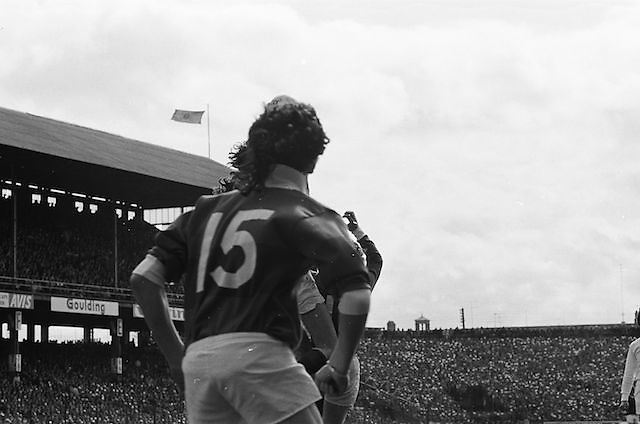 Galway number 15 looks on as player jump for the ball during the All Ireland Senior Gaelic Football Championship Final Dublin V Galway at Croke Park on the 22nd September 1974. Dublin 0-14 Galway 1-06.