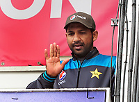 Cricket - 2019 ICC Cricket World Cup - Group Stage: Pakistan vs. Sri Lanka<br /> <br /> Pakistan's Captain, Sarfaraz comes out of the dressing room to wave to the supporters during the rain delay, at The Bristol County Ground, Bristol.<br /> <br /> COLORSPORT/ANDREW COWIE