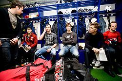 Mitja Robar, Ziga Svete, Sabahudin Kovacevic, Ales Kranjc, Marcel Rodman and Andrej Hebar at first practice of Slovenian National Ice hockey team before World championship of Division I - group B in Ljubljana, on April 5, 2010, in Hala Tivoli, Ljubljana, Slovenia.  (Photo by Vid Ponikvar / Sportida)..